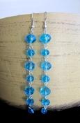 Gari zilu stikla pērļu auskari