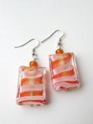 Oranžu stikla pērļu auskari